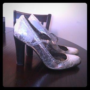Destroyed look J Crew Mary Jane heels